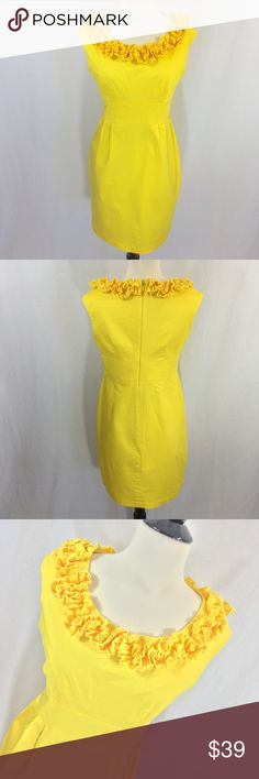 Perfect for Spring! yellow London Times dress Fast shipper, perfect for Easter! Sunshine yellow pencil dress from London Times size 10P top is lined, skirt is not. Crisp cotton fabric. 34 inches long 18 inches armpit to armpit 31 inch waist and 40 inch hip. Stitching at waist is not perfect from manufacturer, see photo. London Times Dresses