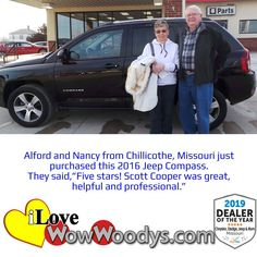 Alford and Nancy are cheesin' away after their purchase of this Jeep Compass!