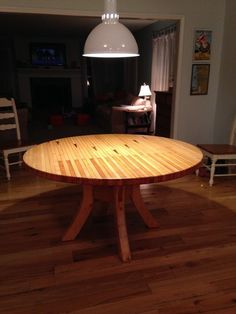 Picture of Round Dining Table made from Bowling Alley wood