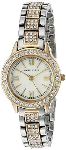 Women's Wrist Watches - Anne Klein Womens AK1493MPTT Swarovski Crystal Accented TwoTone Bracelet Watch *** Details can be found by clicking on the image.
