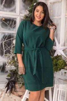Plus Size Women Loose Casual Dresses Gender: Women Waistline: Natural Dresses Length: Above Knee, Mini Season: Spring Silhouette: Straight Neckline: O-Neck Sleeve Length: Three Quarter Decoration: Sas