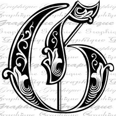 LETTER Initial G Monogram Old ENGRAVING Style Type Text