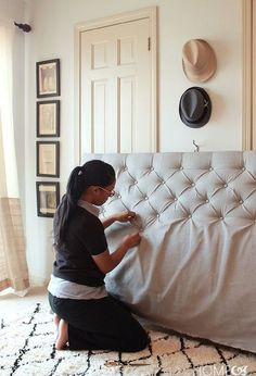 how to make a sophisticated diamond tufted headboard for only 50, bedroom ideas, diy, how to, reupholster
