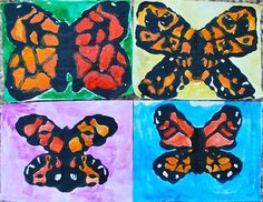 Kids Monarch Butterfly Craft- first learn about the migration of the monarchs, then do this craft with black paint mixed in glue, fold it, let dry, and water color.