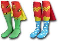 Superhero cape socks... they also have Batman and Superman and Captain America. WOO HOO!