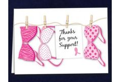 Thanks For Your Support Bra Pink Ribbon Card.  Each pink ribbon card folds to 4 1/2 inches by 6 inches and comes in a gift box or polybag. Great to give to someone who is going through treatment. Blank inside. Packaged 12 cards/envelope per pack. (TSU-01)