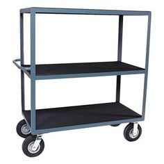 Utility Cart, Vinyl Mat, 3 Shelves, 24x48 by Jamco. $851.35. Utility Cart, Load Capacity 1200 lb., Welded Steel Construction, Gauge Thickness 12, Powder Coat Finish, Color Gray, Overall Length 54 In., Overall Width 25 In., Overall Height 56 In., Number of Shelves 3, Caster Size 8, Caster Type 2 Rigid, 2 Swivel, Caster Material Semi-Pneumatic, Capacity per Shelf 400 lb., Distance Between Shelves 20 In., Shelf Length 48 In., Shelf Width 24 In., Handle Tubular