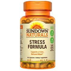 """Sundown Naturals L-Theanine Stress Formula is a great supplemental choice for supporting a calm and relaxed mood.* L-Theanine, which is the active natural phytochemical found in Japanese green tea, is an amino acid that works with the mood centers in the brain.* Sundown Naturals L-Theanine Stress Formula also features traditional herbs lemon balm, lavender and chamomile."""