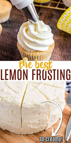 Calling all lemon dessert lovers! This easy Lemon Buttercream Frosting is impossible to resist. Pipe it onto cupcakes, spread it on a cake--or just eat it with a spoon. It's that good! Lemon Dessert Recipes, Lemon Recipes, Sweets Recipes, Sweet Desserts, Baking Recipes, Delicious Desserts, Baking Ideas, Easy Desserts, Free Recipes
