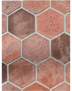 BB173 6'' Hexagon Los Angeles Red Flash Vintage tiles, by Arto Brick & Tile. Made in Los Angeles, CA.