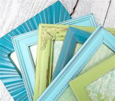 SHABBY CHIC Picture FRAMES - Ocean / Beach Color Scheme - Six Small Vintage Up-cycled Shabby Chic Frames