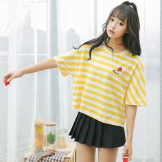 07fc401348 Kawaii Strawberry Striped T-Shirt. Girly OutfitsOutfits For TeensFashion  OutfitsFashion ClothesCute EmbroideryEmbroidery LettersKawaii FashionRetro  ...