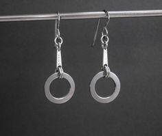 Chain Earrings Urban Earrings Black Hoop Earrings Industrial