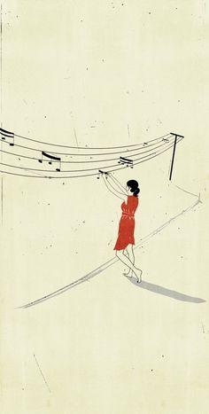 """Ilustración de la mano de Alessandro Gottardo: """"el musical tendedero""""."""