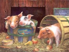 We carry a full line of Sunsout Jigsaw Puzzles including: Three Pigs on the Farm 500 piece Jigsaw Puzzle art by Lorraine Ryan, Proudly Made in The USA Three Little Pigs, This Little Piggy, Farm Paintings, Animal Paintings, Farm Animals, Cute Animals, Sunsout Puzzles, Pig Crafts, Pig Illustration
