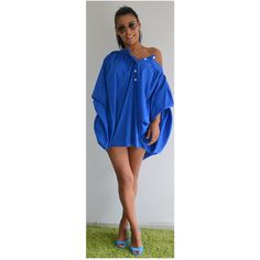 Blue Asymmetric top/oversize Blue Shirt Extravagant Shirt Asymmetric... ($77) ❤ liked on Polyvore featuring tops, blouses, black, women's clothing, asymmetric top, blue cotton shirt, oversized shirt, blue top and over sized shirts