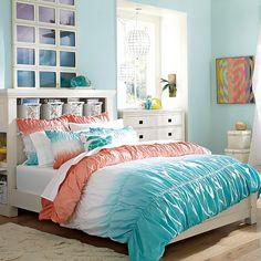Dip Dye Ruched Duvet Cover + Sham, Coral/Capri // the perfect teen summer room