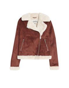 Faux shearling biker jacket - Coats and jackets - Clothing - Woman - PULL&BEAR Taiwan