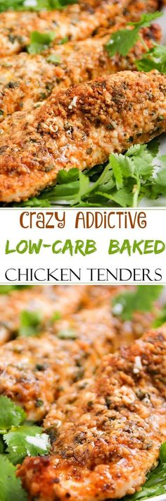 These baked chicken tenders are coated in a deliciously savory crust, yet have zero breading, which makes for an awesomely low carb meal!   Source: www.thechunkychef.com