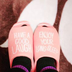 Have a good laugh  Enjoy your long sleep  #gu  #slippers  #pink  #laugh  #sleep  #haveagoodday  #good  #enjoy  #love  #smile  #keep #your  #mind  #xoxo by ajuyong