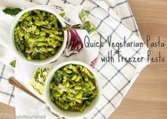 Quick Vegetarian Pasta with Freezer Pesto | www.betrulynourished.com