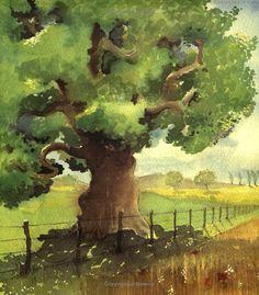 """Farmer Duck"" by Martin Waddell, Helen Oxenbury Baum Landschaft Watercolor Trees, Easy Watercolor, Watercolor Landscape, Watercolour Painting, Painting & Drawing, Landscape Paintings, Watercolors, Watercolor Techniques, Art Techniques"