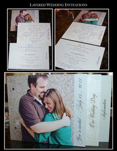 layered wedding invites maybe make the front the invitation and the layers behind it stay connected together