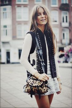 . . Leopard, Leather, Lace Up | Street Styling . .