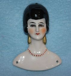 "Antique German Bas Relief Flat Half Doll 3"" Flapper Molded Beads Beautiful Eyes 