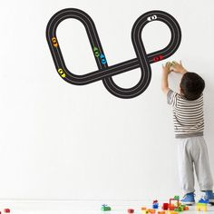 Build-Your-Own Race Track Racetrack with Porsche Racecars Wall Sticker Decal. $50.00, via Etsy.