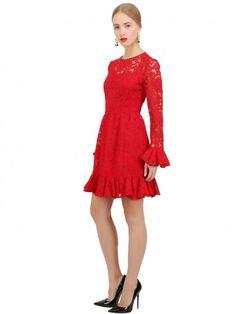 Abito corto da cerimonia rosso in pizzo Dolce e Gabbana