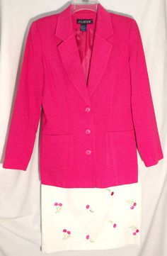 J.G. HOOK Pique Fuschia Jacket/Blazer-White Pique Skirt -Embroidered Cherries -8 #JGHook #SkirtSuit #hook #cotton #pique #skirt #jacket #blazer #cherries #suit #fuschia #white #8