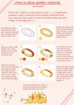 Here is my trashy tutorial for golden materials. How to draw gold Digital Painting Tutorials, Digital Art Tutorial, Painting Tools, Art Tutorials, Art Reference Poses, Drawing Reference, Drawing Techniques, Drawing Tips, Gold Drawing