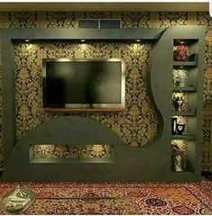 Home Decor: 20 Wonderful places for TV wall mount Lcd Wall Design, House Ceiling Design, Ceiling Design Living Room, Roof Design, Tv Unit Furniture Design, Tv Unit Interior Design, Deco Tv, Modern Tv Wall Units, Tv Cabinet Design