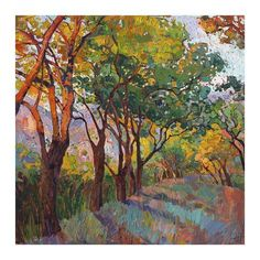 size: Giclee Print: Lane of Oaks by Erin Hanson : Cuisine This exceptional art print was made using a sophisticated giclée printing process, which deliver pure, rich color and remarkable detail. Abstract Tree Painting, Painting Edges, Painting Frames, Painting Prints, Oil Paintings, Stretched Canvas Prints, Canvas Art Prints, Erin Hanson, Thing 1