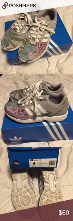 Adidas ZX FLUX Gray Floral Sneakers - 6 These are in excellent condition from a smoke and pet free home. They come in their original box. Adidas Shoes Sneakers