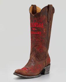 University of Arkansas Tall Gameday Boots, Brass