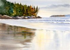 Watercolor Art: How to Paint Water. Wet sand