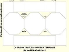 Octagon Tri Fold Shutter Template on Craftsuprint designed by Karen Adair - This is a template to design an octagon tri-fold shutter card. The templaste has been sized to fit the standard design size for cup, ie 1664 x 1176 pixels. It is in .png format. I have included all the folding instructions on the template for you. All you have to do is add your own fill colours or patterns, change the border colour to match, and add embellishments or images. This is really simple to do by utilising…