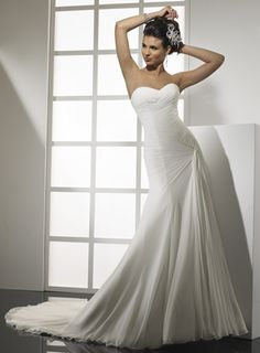 Pretty A-line dropped waist chiffon wedding dress