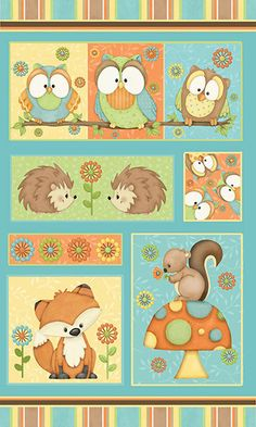 Panel of Owls, Foxes, Hedgehogs and Squirrels Cotton Quilt Fabric for Sale, Hoot Hoot Hooray! by Shelly Comiskey for Henry Glass HEG6501P-11 by fabric406 on Etsy