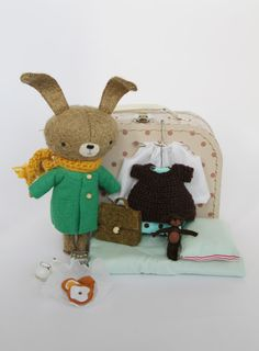 Gorgeous handmade toy bunny with cute accessories