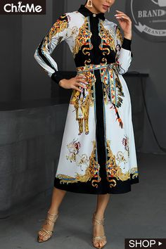 Mixed Print Long Sleeve Shirt Dress Women's Best Online Shopping - Offering Huge Discounts on Dresses, Lingerie , Jumpsuits , Swimwear, Tops and More. Long Sleeve Shirt Dress, Sweatshirt Dress, Long Sleeve Shirts, Womens Fashion Online, Men Fashion, Mixing Prints, Buy Dress, Trendy Outfits, Curvy Outfits