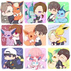 Omg! Seventeen and the eevee's evolutions!! so cute!!!!