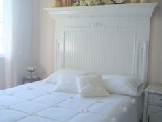 Ideas=Fleur Cottage: New Headboard Details Guest Bedroom Decor, Guest Bedrooms, Guest Room, Bedroom Ideas, Fireplace Mantle Headboard, Fireplace Mantels, Headboards For Beds, Headboard Ideas, Amazing Decor