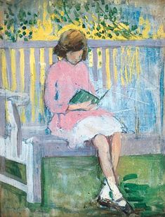 Girl reading Mary Ethel Hunter born 1878 in Todwick (Yorkshire), UK died 1936