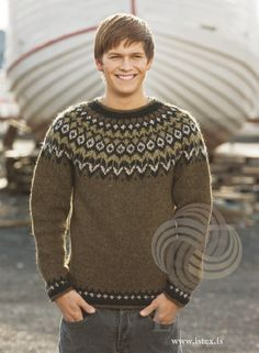 Icelandic Fishermans Wool Pullover - Marsh Heather Knitting kit includes pattern book with 20 patterns, Lettlopi wool yarn, - Icelandic natural wool. Knitting Kits, Knitting Wool, Fair Isle Knitting, Knitting Designs, Wool Yarn, Icelandic Sweaters, Wool Sweaters, Sweater Design, Pulls