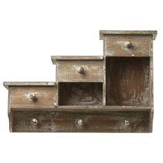 Wooden Wall Storage Shelf With Hooks