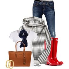 Love this whole outfit, especially those red rainboots!