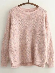Pink Cable Knit Round Neck Drop Shoulder Sweater -SheIn(Sheinside)